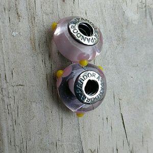 Set of two Pandora murano beads